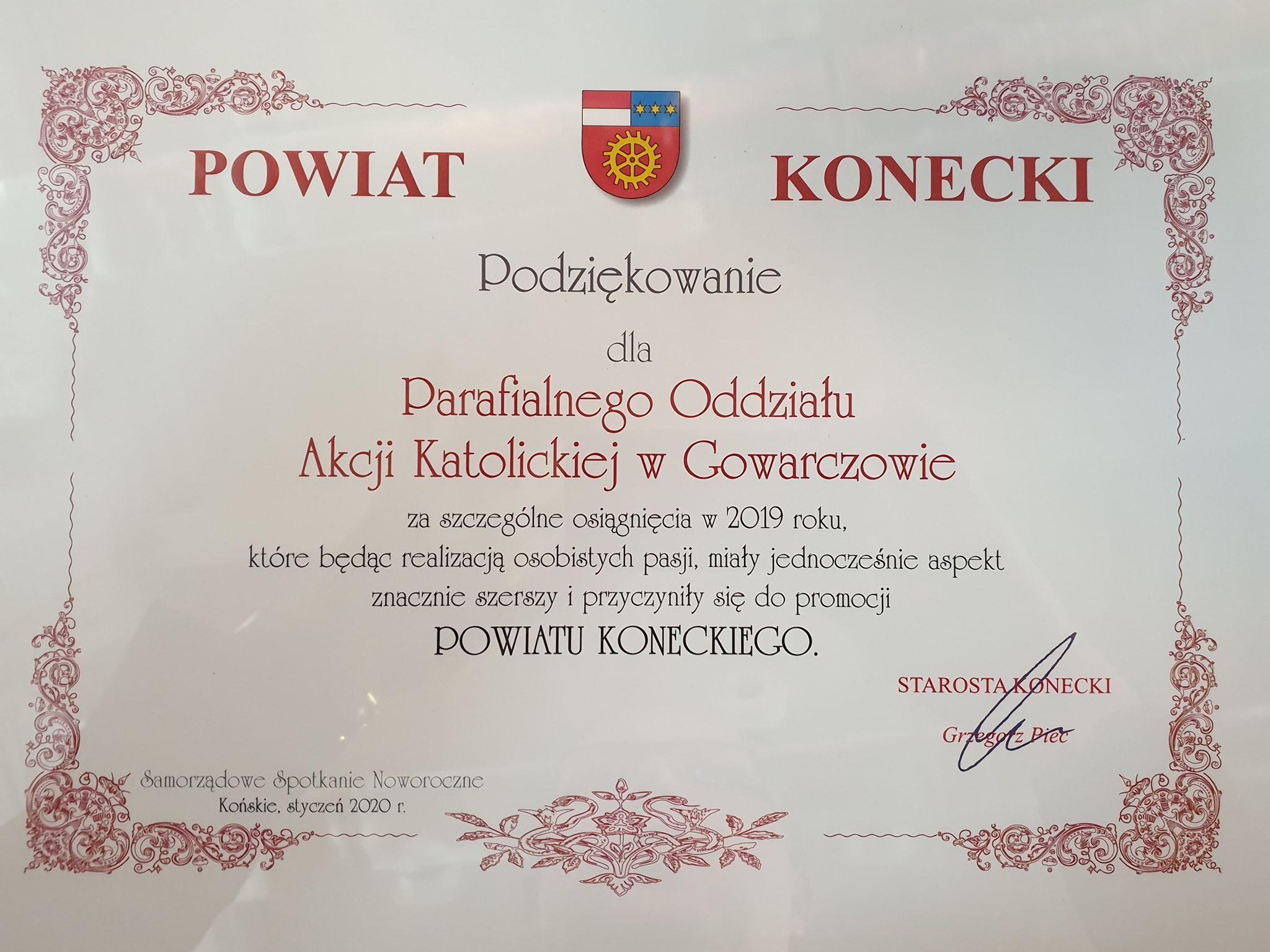 EEEEOdnotowujemy: jest wyróżnienie dla oddziału Akcji Katolickiej w Gowarczowie!